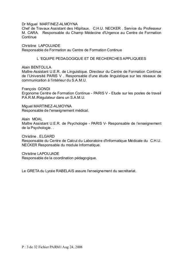 Dr Miguel MARTINEZ-ALMOYNA Chef de Travaux Assistant des Hôpitaux. C.H.U. NECKER . Service du Professeur M. CARA. Responsa...
