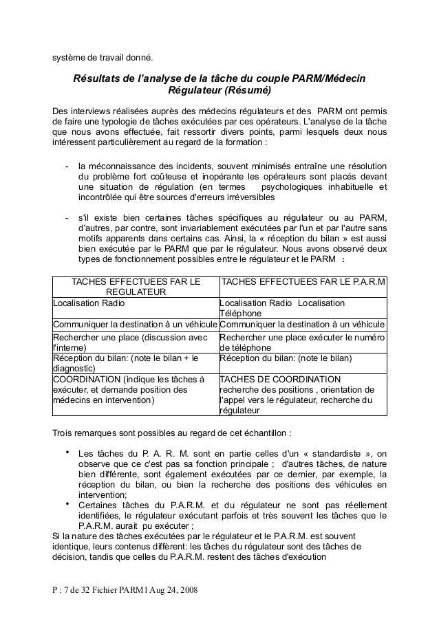 système de travail donné.  Résultats de l'analyse de la tâche du couple PARM/Médecin Régulateur (Résumé) Des interviews ré...