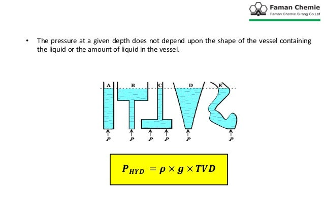 • The pressure at a given depth does not depend upon the shape of the vessel containing the liquid or the amount of liquid...