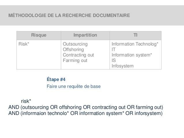 MÉTHODOLOGIE DE LA RECHERCHE DOCUMENTAIRE  Risque Impartition TI  Risk* Outsourcing  Offshoring  Contracting out  Farming ...