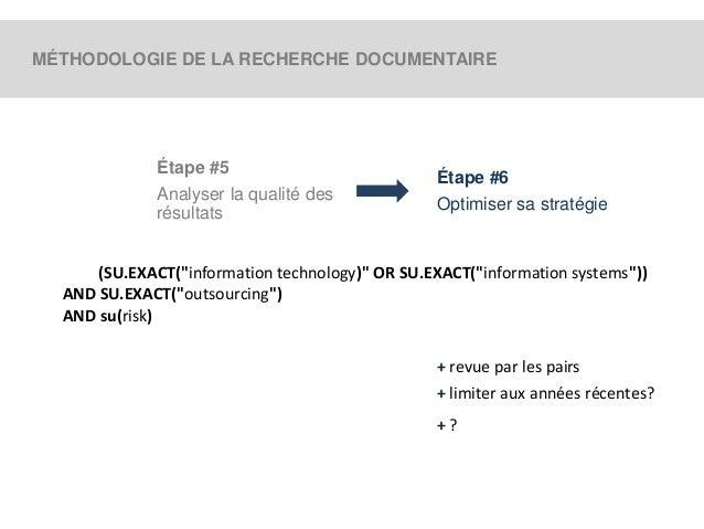 MÉTHODOLOGIE DE LA RECHERCHE DOCUMENTAIRE  Étape #5  Analyser la qualité des  résultats  Étape #6  Optimiser sa stratégie ...