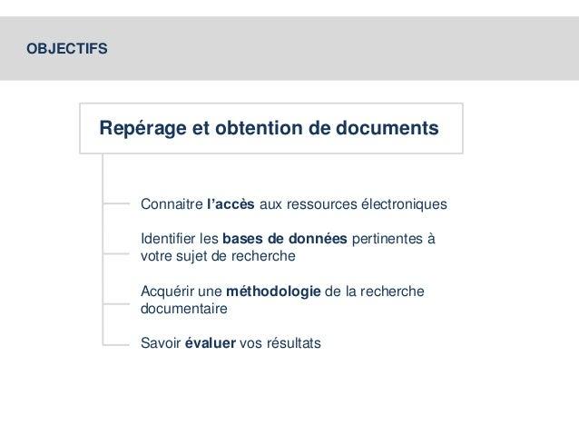 OBJECTIFS  Repérage et obtention de documents  Connaitre l'accès aux ressources électroniques  Identifier les bases de don...