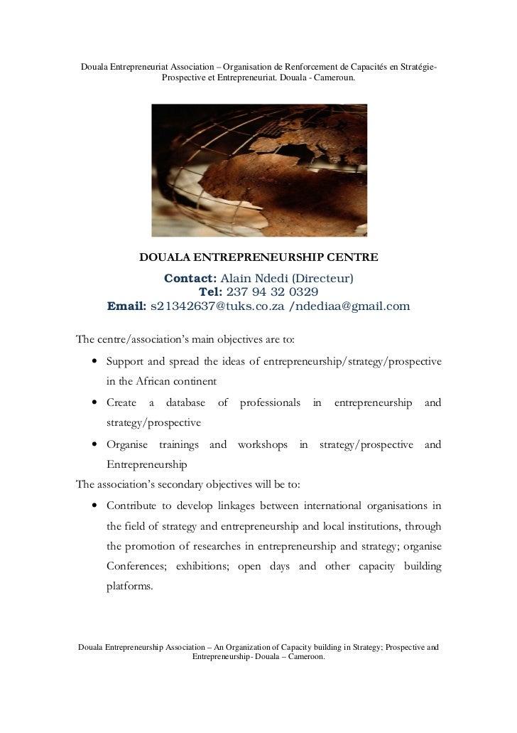 Douala Entrepreneuriat Association – Organisation de Renforcement de Capacités en Stratégie-                     Prospecti...