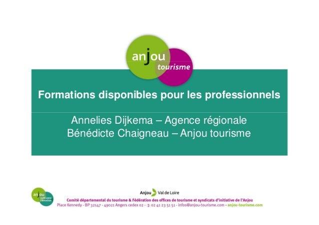Formations disponibles pour les professionnels Annelies Dijkema – Agence régionale Bénédicte Chaigneau – Anjou tourisme