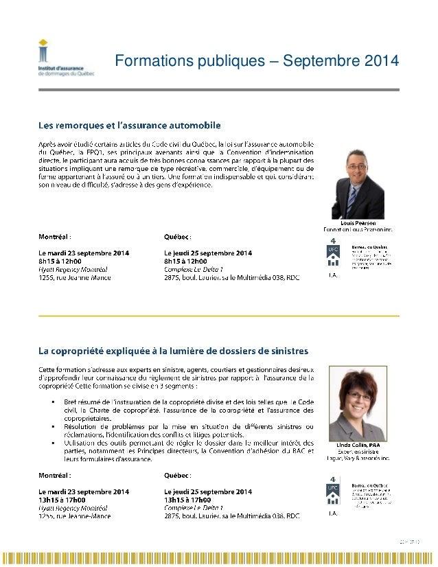 Formations publiques – Septembre 2014   