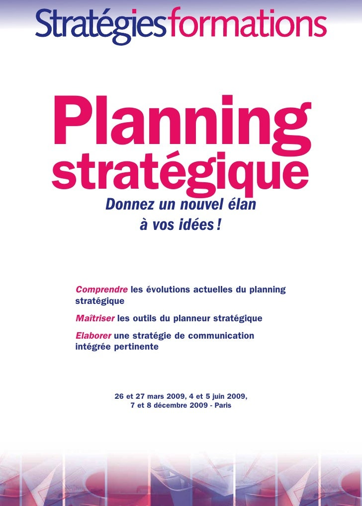 Planning stratégique         Donnez un nouvel élan             à vos idées !    Comprendre les évolutions actuelles du pla...