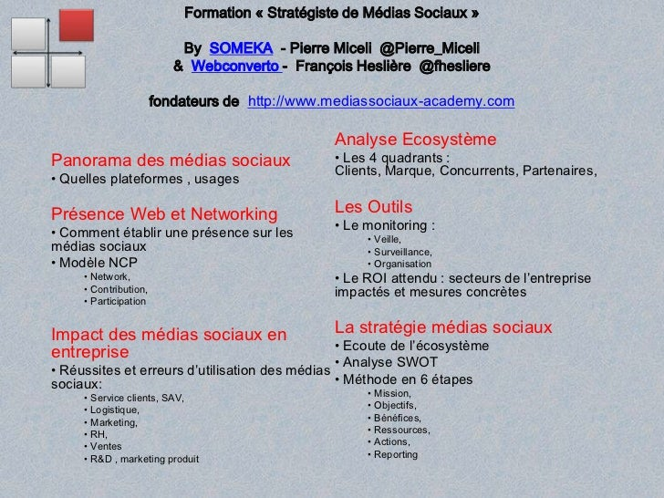 Formation «Stratégiste de Médias Sociaux» By  SOMEKA  - Pierre Miceli  @Pierre_Miceli&  Webconverto-  François Heslière ...