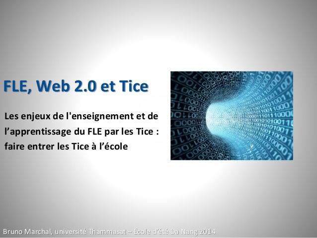 FLE, Web 2.0 et Tice Les enjeux de l'enseignement et de l'apprentissage du FLE par les Tice : faire entrer les Tice à l'éc...