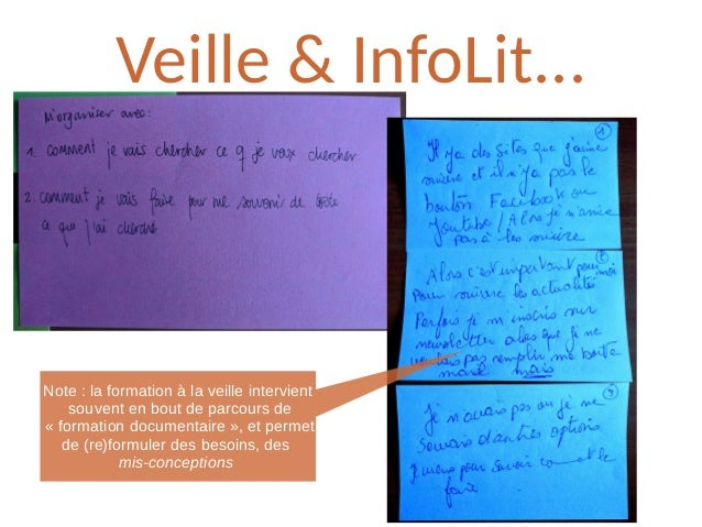 Veille & InfoLit... Note: la formation à la veille intervient souvent en bout de parcours de «formation documentaire», ...