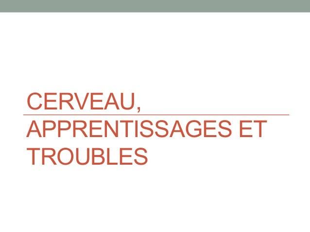 CERVEAU, APPRENTISSAGES ET TROUBLES