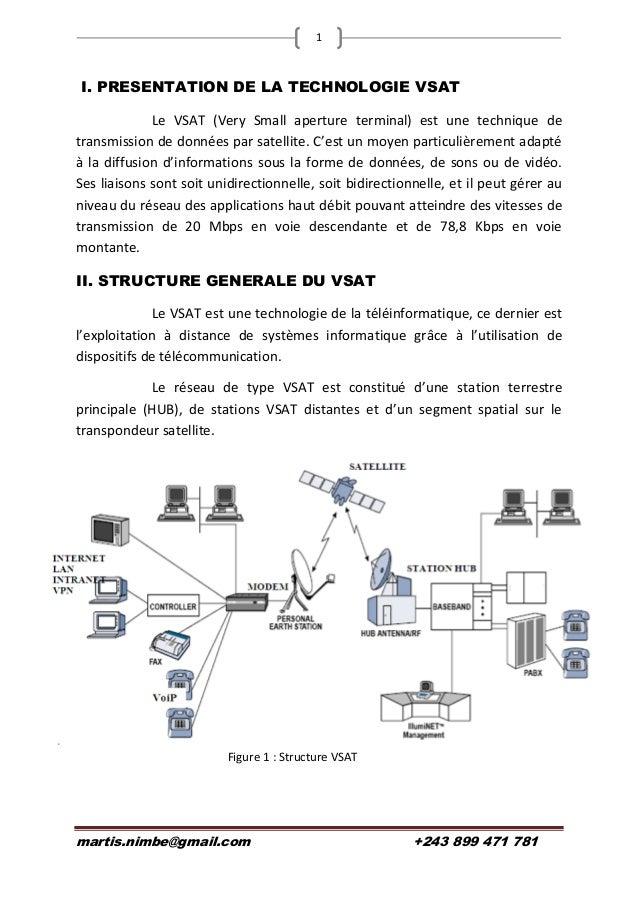 martis.nimbe@gmail.com +243 899 471 781 1 I. PRESENTATION DE LA TECHNOLOGIE VSAT Le VSAT (Very Small aperture terminal) es...