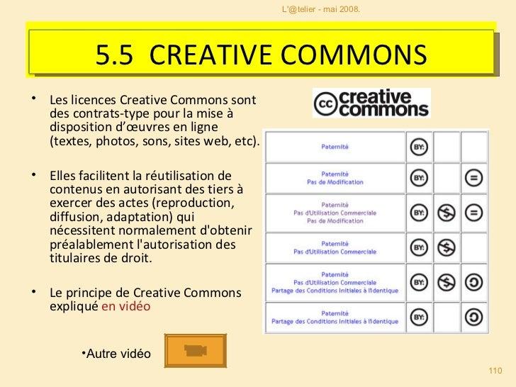 <ul><li>Les licences Creative Commons sont des contrats-type pour la mise à disposition d'œuvres en ligne (textes, photos,...