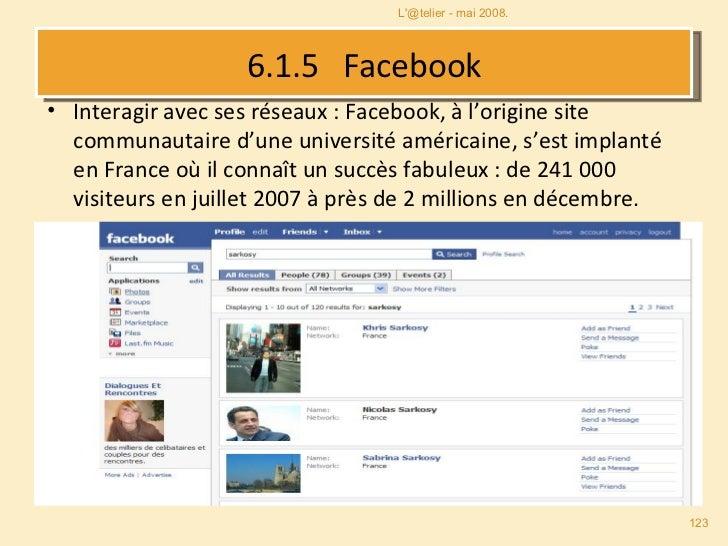 6.1.5  Facebook <ul><li>Interagir avec ses réseaux : Facebook, à l'origine site communautaire d'une université américaine,...
