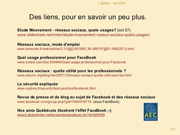 Etude Moovement - réseaux sociaux, quels usages?  (oct 07)  www.slideshare.net/rmen/etude-moovement-rseaux-sociaux-quels-...