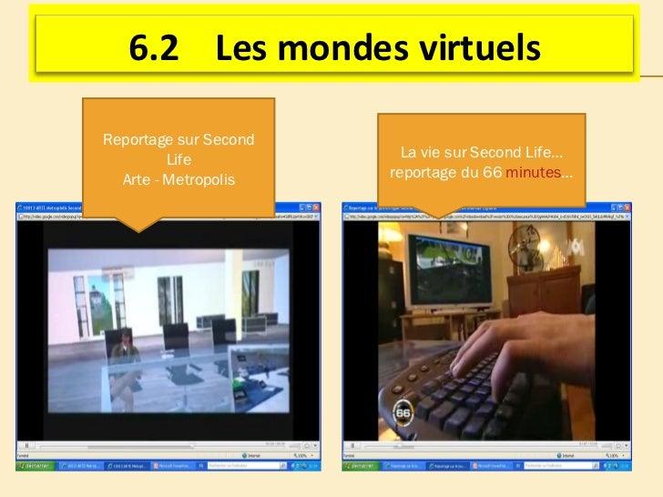 La vie sur Second Life…reportage du 66  minutes … Reportage sur Second Life Arte - Metropolis 6.2  Les mondes virtuels