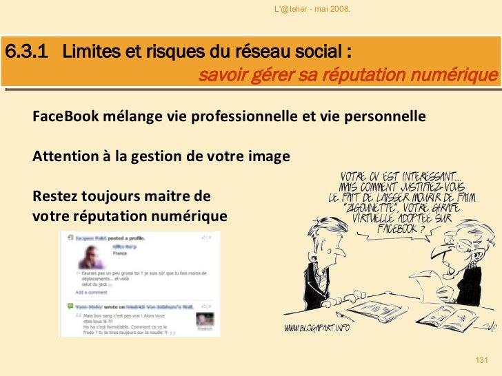 FaceBook mélange vie professionnelle et vie personnelle Attention à la gestion de votre image Restez toujours maitre de vo...