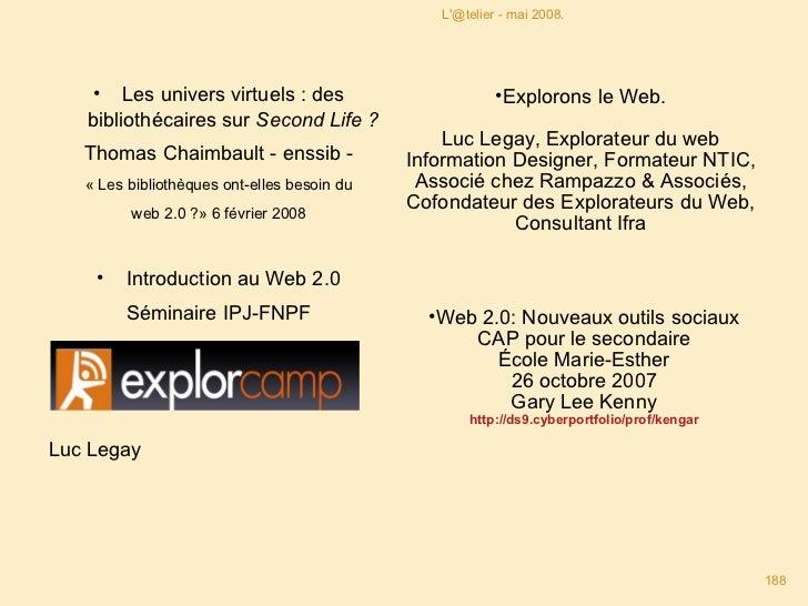 <ul><li>Les univers virtuels : des bibliothécaires sur  Second Life ? </li></ul><ul><li>Thomas Chaimbault - enssib - </li>...