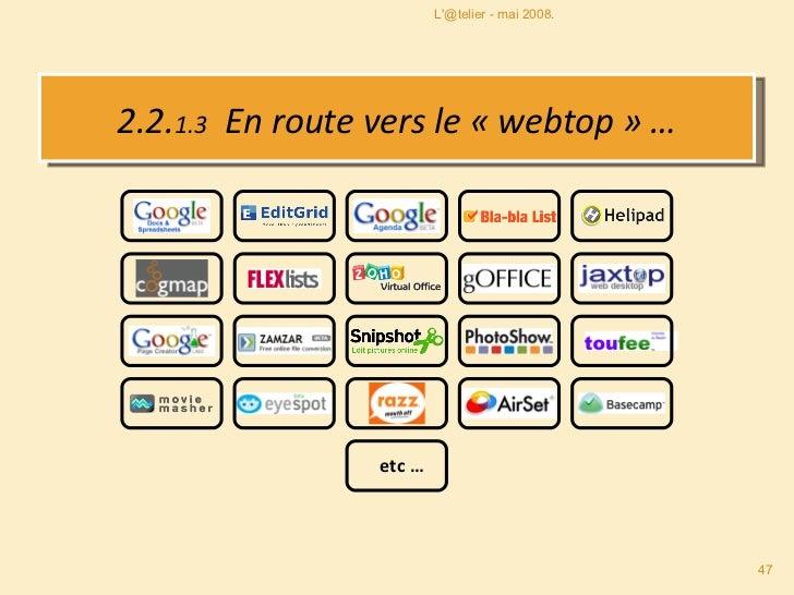 2.2. 1.3   En route vers le «webtop» … L'@telier - mai 2008. etc …
