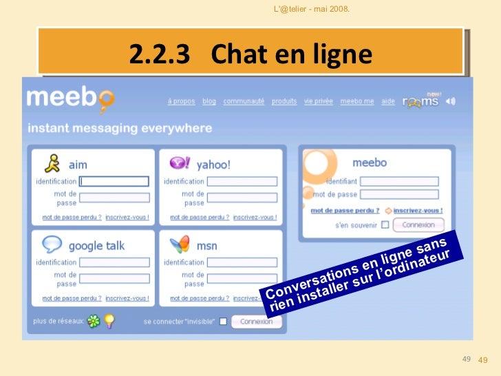 2.2.3   Chat en ligne Conversations en ligne sans rien installer sur l'ordinateur L'@telier - mai 2008.