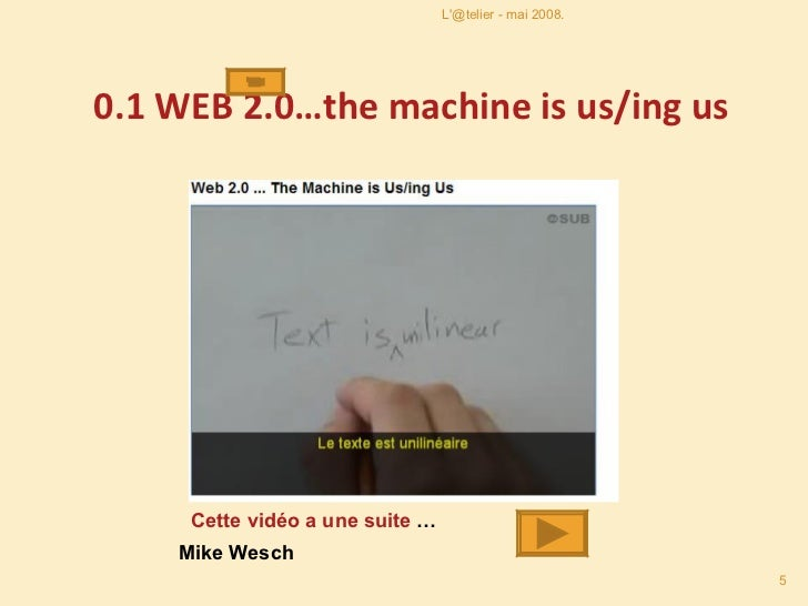 0.1  WEB 2.0…the machine is us/ing us Cette vidéo a une suite  … Mike Wesch L'@telier - mai 2008.