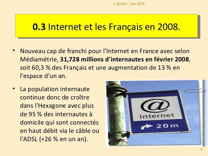 0.3  Internet et les Français en 2008. <ul><li>Nouveau cap de franchi pour l'Internet en France avec selon Médiamétrie,  3...