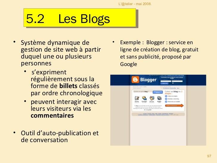 <ul><li>Système dynamique de gestion de site web à partir duquel une ou plusieurs personnes  </li></ul><ul><ul><li>s'expri...