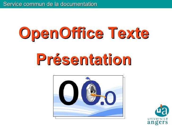 OpenOffice Texte Présentation Service commun de la documentation