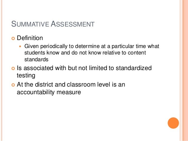 Formative And Summative Assessment Dr Grant