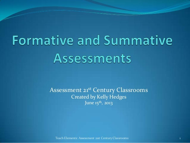 Assessment 21st Century ClassroomsCreated by Kelly HedgesJune 15th, 20131Teach Elements: Assessment 21st Century Classrooms