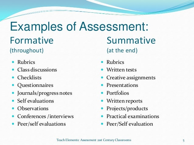 Formative writing assessment definition and types