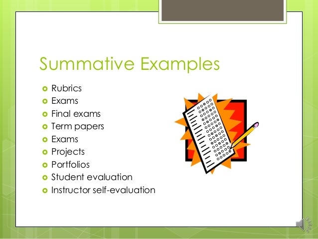 Formative And Summative Assessments Unit  Revised Without References