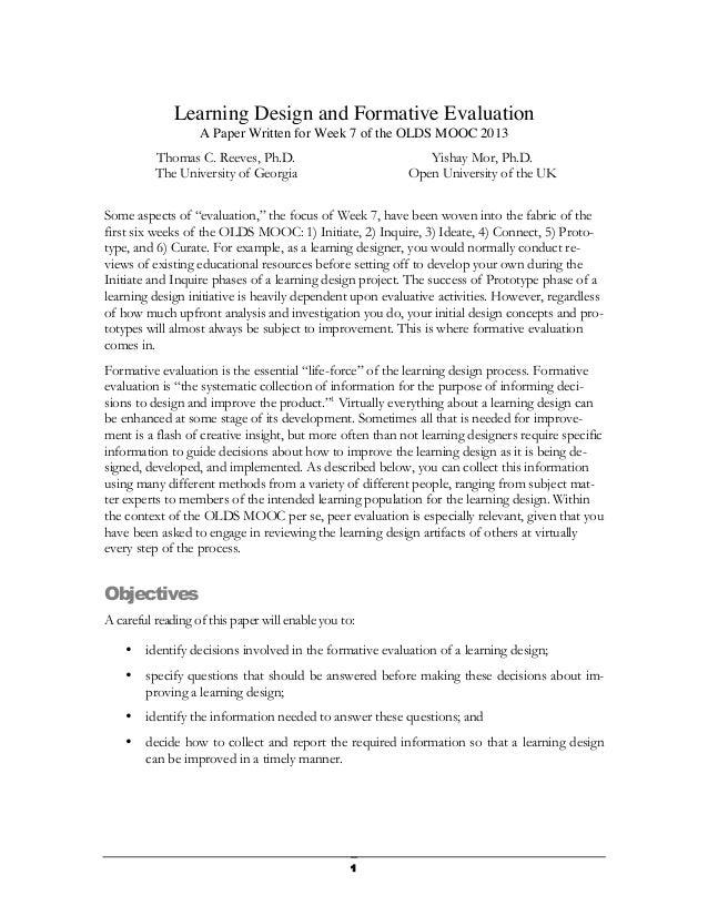 OLDS MOOC Week 7: Formative evaluation paper