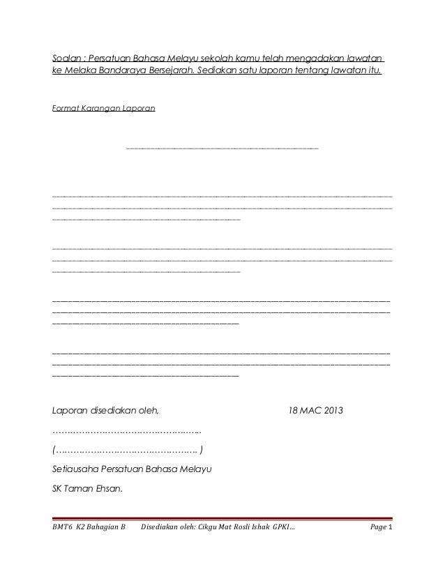 Format karangan laporan bm thn 5 & 6