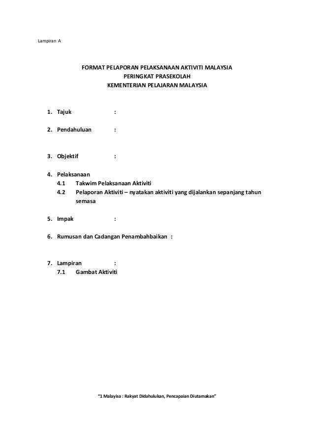 Format Laporan Aktiviti 1 Malaysia