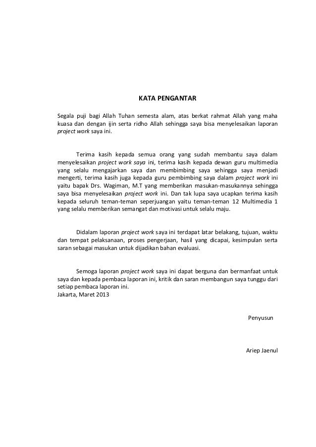 Format Laporan Project Work Ariep Jaenul