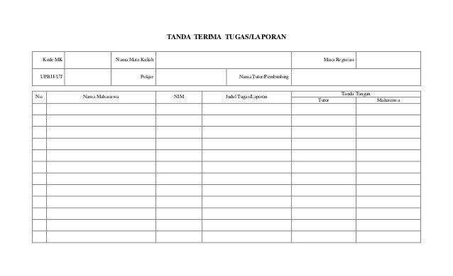Format Laporan Tutor Universitas Terbuka 2014