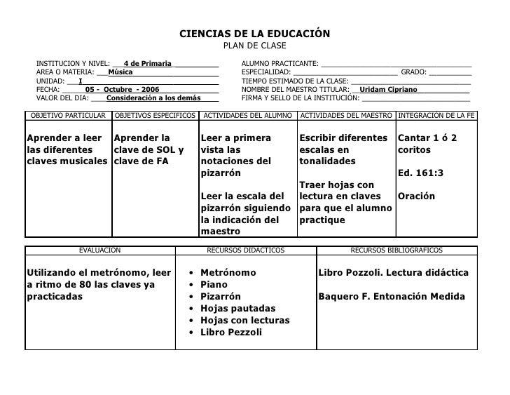 CIENCIAS DE LA EDUCACIÓN                                                      PLAN DE CLASE  INSTITUCION Y NIVEL: ___4 de ...