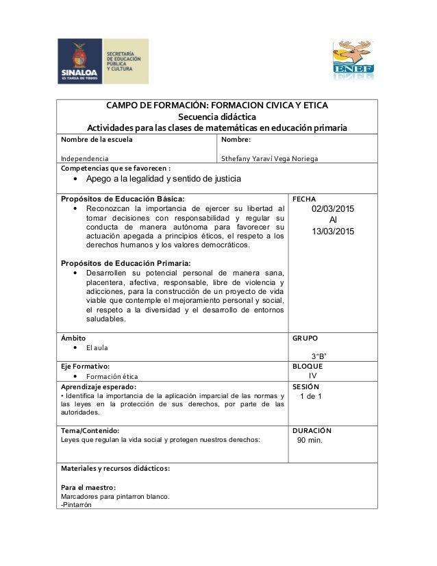 CAMPO DE FORMACIÓN: FORMACION CIVICA Y ETICA Secuencia didáctica Actividades para las clases de matemáticas en educación p...
