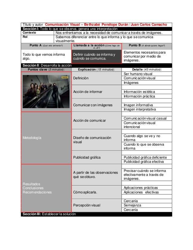 Título y autor Comunicación Visual – Bethzabé Penélope Durán / Juan Carlos Camacho Sección I: Todo lo que se observa, gene...