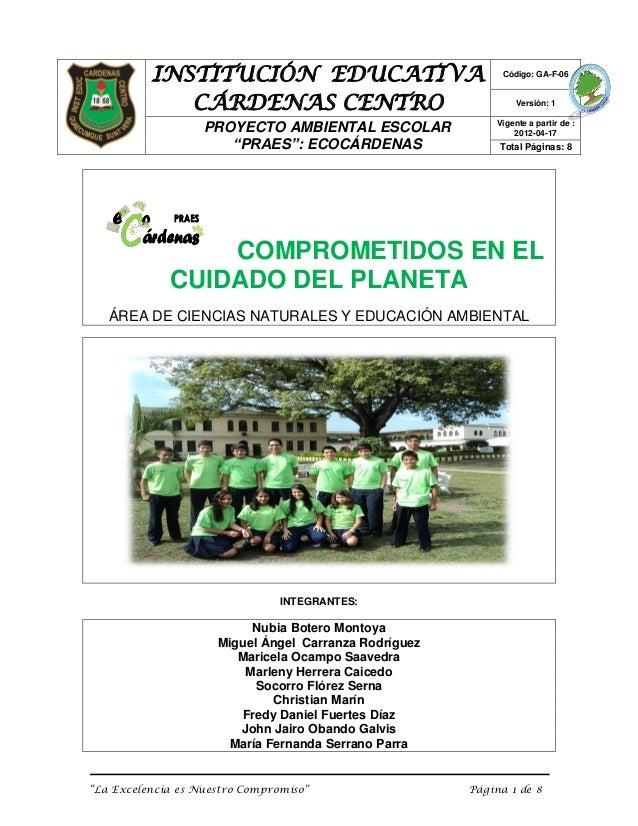 INSTITUCIÓN EDUCATIVA                              Código: GA-F-06             CÁRDENAS CENTRO                            ...