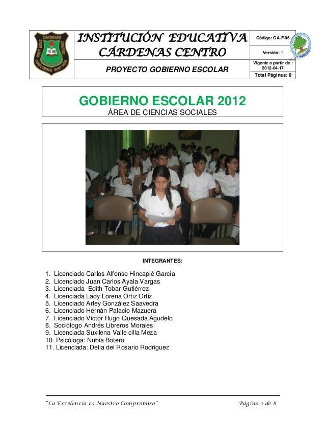 INSTITUCIÓN EDUCATIVA                        Código: GA-F-06             CÁRDENAS CENTRO                               Ver...