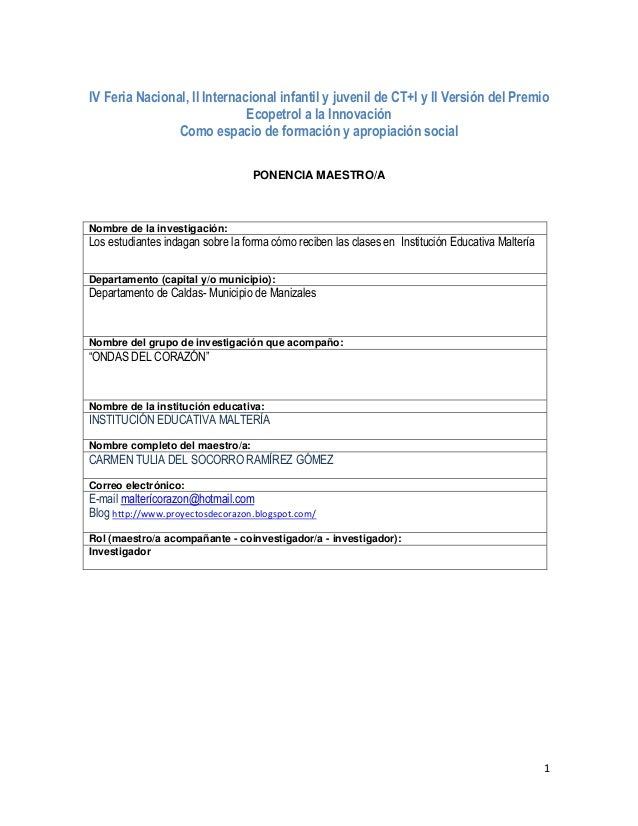 1 IV Feria Nacional, II Internacional infantil y juvenil de CT+I y II Versión del Premio Ecopetrol a la Innovación Como es...