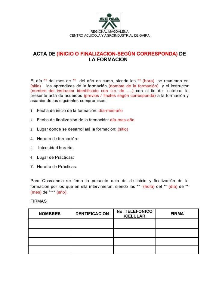 REGIONAL MAGDALENA                     CENTRO ACUICOLA Y AGROINDUSTRIAL DE GAIRA ACTA DE (INICIO O FINALIZACION-SEGÚN CORR...