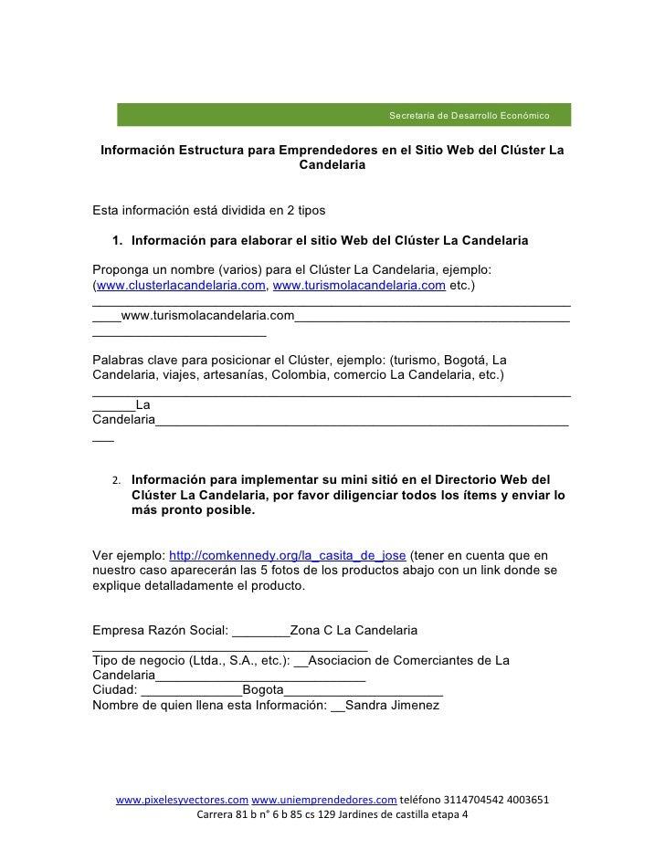 Secretaría de Desarrollo Económico    Información Estructura para Emprendedores en el Sitio Web del Clúster La            ...