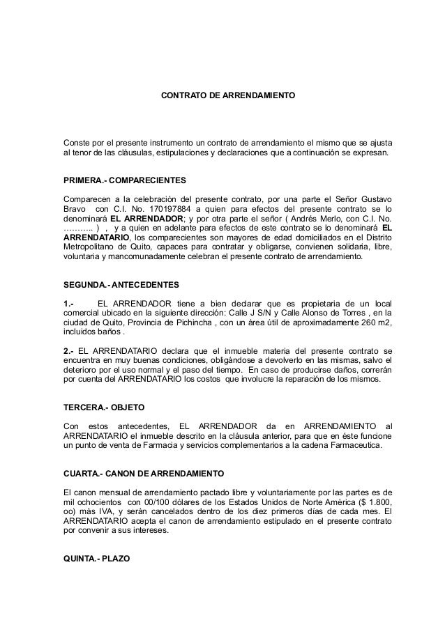 Formato contrato de venta de negocio autos post for Modelo de contrato de alquiler