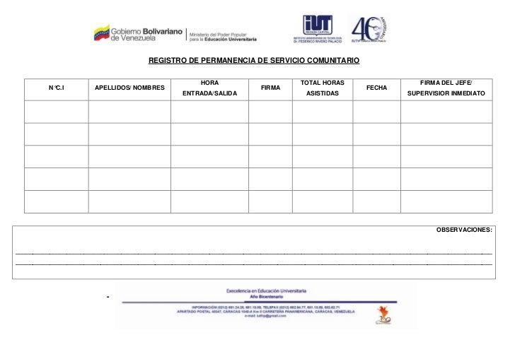 REGISTRO DE PERMANENCIA DE SERVICIO COMUNITARIO                                                      HORA                 ...