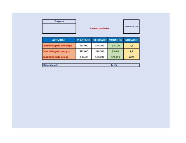 formato control gastos
