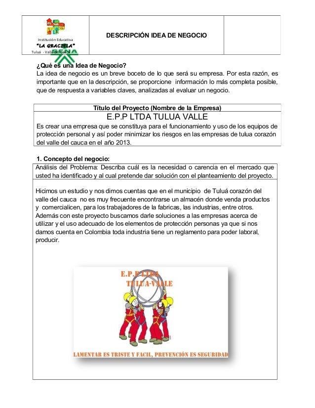"""Institución Educativa  """"LA GRACIELA""""  Tuluá - Valle del Cauca  DESCRIPCIÓN IDEA DE NEGOCIO  ¿Qué es una Idea de Negocio?  ..."""