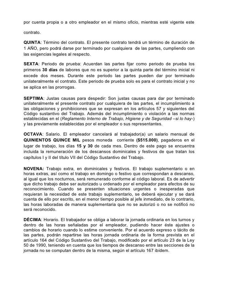 Formato de contrato for Modelo contrato laboral