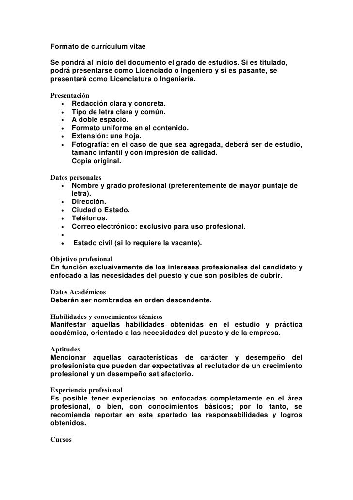 Formato De Curriculum Descargar April Mydearest Co